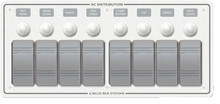 BLUE SEA SYSTEMS 8271 8 POS. HORIZONTAL WHITE PANEL
