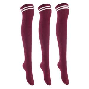 Lian LifeStyle Women's 3 Pairs Adorable Comfortable Soft Thigh High Over Knee High Cotton Socks Size 6-9 L1022(Wine)