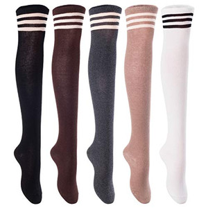 AATMart Big Girl's Women's 3 Pairs Cute Cozy Knee High Cotton Boot Socks with Wide Color and Size Range Size 6-9 (Black, Coffee, Navy) T1022-3c4