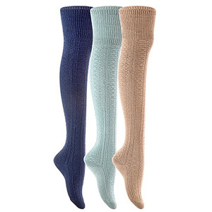 Meso Big Girl's Women's 3 Pairs Durable Thigh High Cotton Socks M1025 Size 6-9