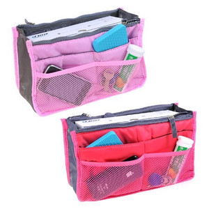 2*Insert Handbag Multifunctional Organiser Purse Large Liner Organizer Bag Tidy Travel-Pink+Rose Red