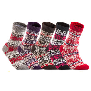 Lian LifeStyle 5 Pairs Luxurious Angora Wool Fuzzy Socks for Women. Comfortable Socks Great for Sensitive Skin Maple Leaf HM1405 Size 6-9