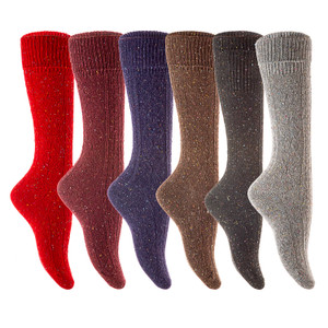 Lian LifeStyle Non Slip, Exceptional, Cozy and Cool Big Girl's Women 6 Pairs Knee High Wool Crew Size 6-9 Socks HR1412 (Random Color)
