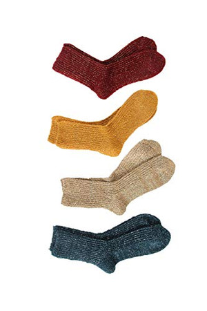 Lian LifeStyle Big Girl's Women's Fashion Sparkling Wool Blend Crew Socks L1878 Size 5-11