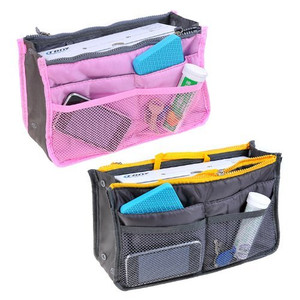 2 Insert Handbag Multifunctional Organiser Purse Large Liner Organizer Bag Tidy Travel-Pink+Grey