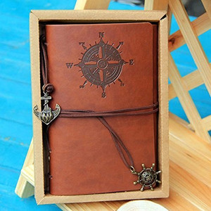 Diary pirate-style antique notebook excellent atmosphere leather diary loose-leaf notebook plain interior anchor Goods Notepad memo notebook cute fashionable (Brown)