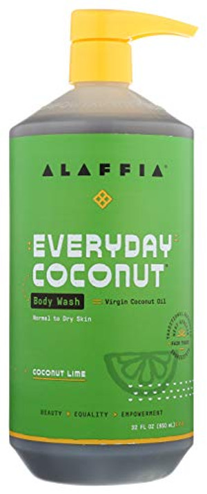 Alaffia Everyday Coconut Body Wash - Normal to Dry Skin, Helps Gently Moisturize and Cleanse Toxins and Grime, Fair Trade, Coconut Lime, 32 Ounces