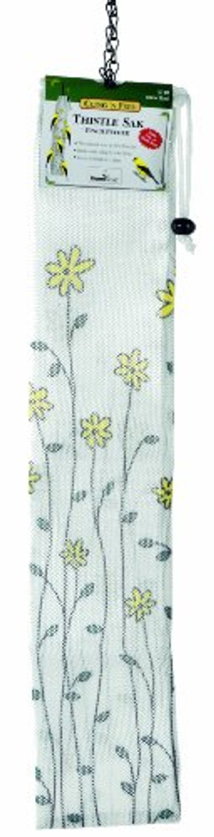 Homestead 3710 22-inch Bird Thistle Sak Feeder, Yellow Floral