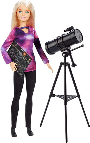 ??Barbie Astrophysicist Doll, Blonde with Telescope and Star Map, Inspired by National Geographic