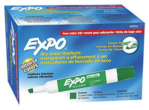 EXPO 80004 Low-Odor Dry Erase Markers, Chisel Tip, Green, 12-Count
