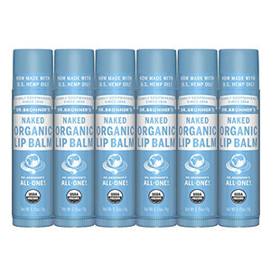Dr. Bronner's - Organic Lip Balm (.15 ounce, 6-Pack) - Unscented, Made with Organic Beeswax and Avocado Oil, For Dry Lips, Hands, Chin or Cheeks, Jojoba Oil for Added Moisture, Soothing (Naked)