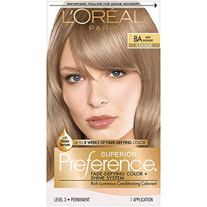 L'Oreal Paris Superior Preference Fade-Defying + Shine Permanent Hair Color, 8A Ash Blonde, Pack of 1, Hair Dye