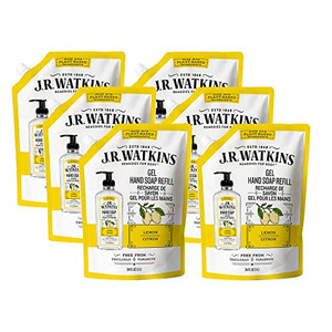 JR Watkins Gel Hand Soap Refill Pouch, Lemon, 6 Pack, Scented Liquid Hand Wash for Bathroom or Kitchen, USA Made and Cruelty Free, 34 fl oz