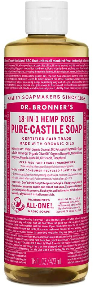 Dr. Bronner's Fair Trade & Organic Castile Liquid Soap - (Rose, 16 oz)