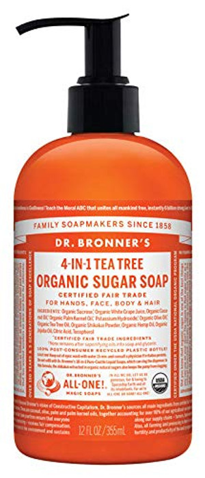 Dr. Bronner 4-in-1 Organic Tea Tree Scent Sugar Soap 12 oz.