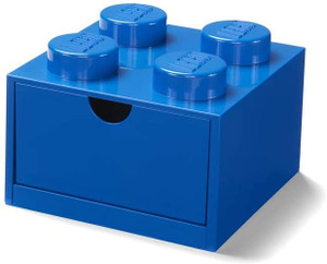 LEGO Desk Drawer 4 knobs Stackable Storage Box, Blue, Small
