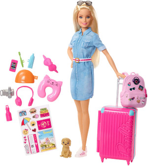 Barbie Travel Doll, Blonde, with Puppy, Opening Suitcase, Stickers and 10+ Accessories, for 3 to 7 Year Olds Multicolor