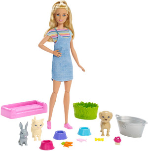 Barbie Play 'n' Wash Pets Playset with Blonde Doll, 3 Color-Change Animals a Puppy, Kitten and Bunny and 10 Pet and Grooming Accessories, Gift for 3 to 7 Year Olds