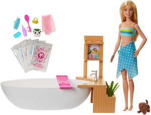 ?Barbie Fizzy Bath Doll & Playset, Blonde, with Tub, Fizzy Powder, Puppy & More, Gift for Kids 3 to 7 Years Old