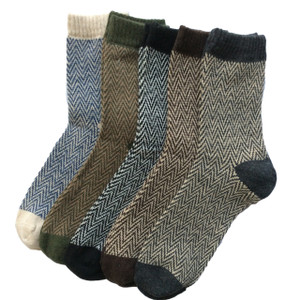 Lovely Annie Men's 5 Pairs Pack Rabit Hair&Wool Crew Socks Size 7-11 Stripped