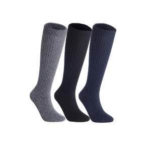 Lian LifeStyle Women's 3 Pairs Exceptional Non slip, Cozy and Cool Knee High Wool Socks LFS05 Size 6-9 (Grey, Black, Navy)