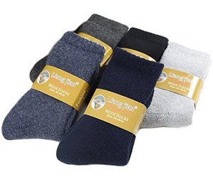 Lovely Annie Men's 4 Pairs Extra Thick Wool Socks Solid Size 6-10
