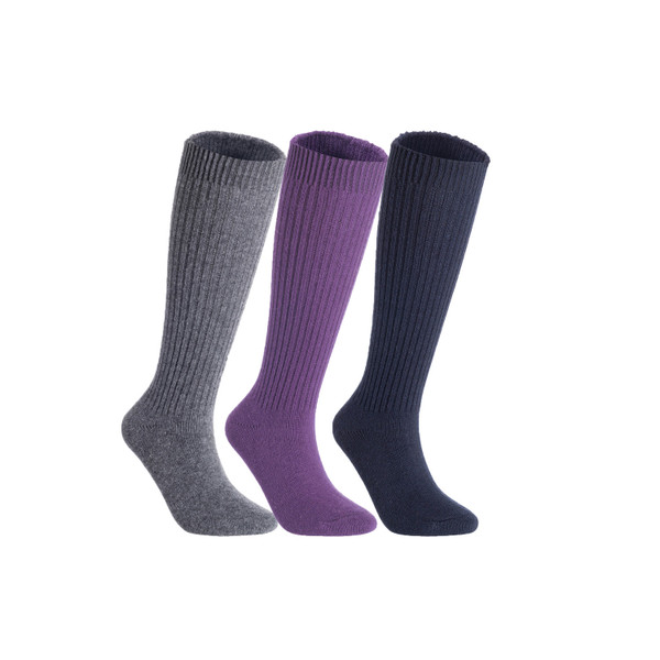 Lian LifeStyle Women's 3 Pairs Exceptional Non slip, Cozy and Cool Knee High Wool Socks LFS05 Size 6-9 (Grey, Purple, Navy)