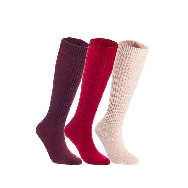 Lian LifeStyle Women's 3 Pairs Exceptional Non slip, Cozy and Cool Knee High Wool Socks LFS05 Size 6-9 (Random)