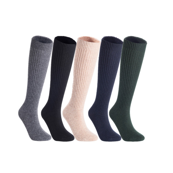 Lian LifeStyle Big Girl's & Women's 5 Pairs Exceptional Non slip, Cozy and Cool Knee High Wool Socks LFS05 Size L (Grey,Black,Beige,Navy,Green)