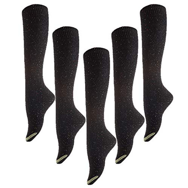 Meso Women's 5 Pairs Knee Length Cotton Boot Crew Socks Size 7-9