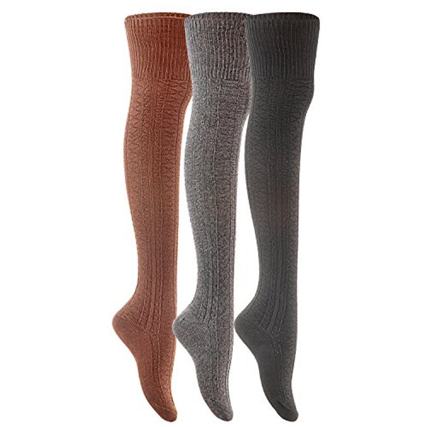 Lian LifeStyle Women's 3 Pairs Fashion Thigh High Cotton Socks JMYP1025-3P07 Coffee Beige Dark Grey