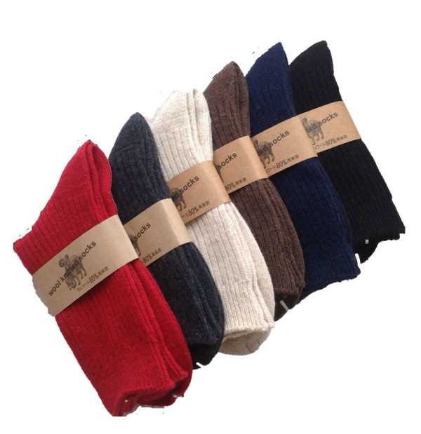 Lian LifeStyle Men's 3 Pairs Knitted Wool Crew Socks One Size 8-11 Men's Clothing