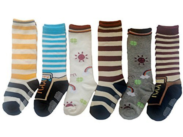 Lian LifeStyle Baby Children 6 Pairs Knee High Non-Skid Non-Slip Cotton Socks Learning Socks Great Grip Multi Color