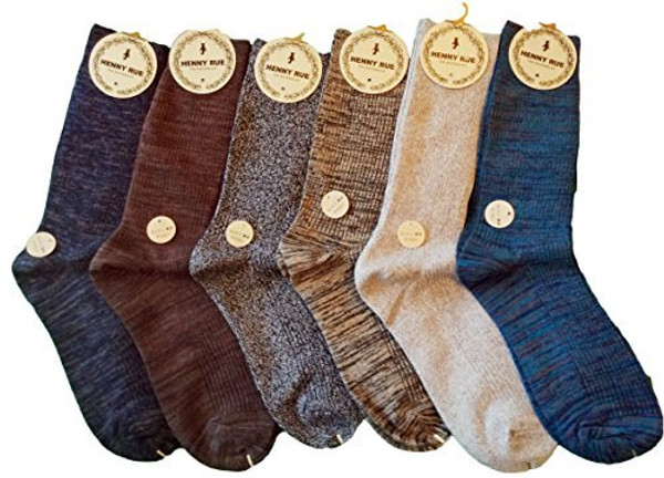 Lian LifeStyle Men's 6 Pairs Mid Calf Cotton Socks Size 8-11 Random Colors