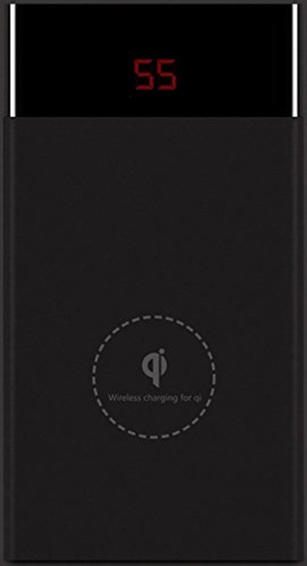 Lian LifeStyle 10000mAh Portable Wireless Charger Qi Wireless Fast Charge + Ultra High Capacity Power Bank Dual USB 2.0A Output for iPhone iPad & Samsung Galaxy & More WP16(Black)