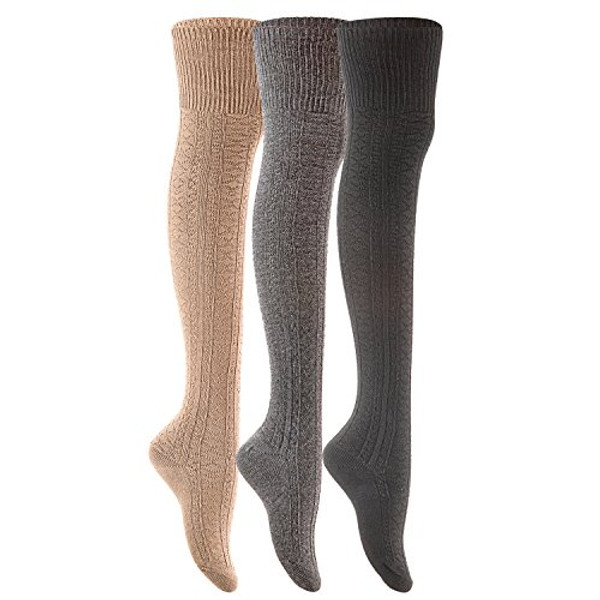 Lian LifeStyle Women's 3 Pairs Fashion Thigh High Cotton Socks JMYP1025-2 Size 6-9(Random Color)