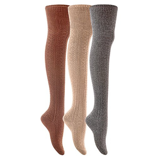 Lian LifeStyle Big Girl's Women's 3 Pairs Fashion Thigh High Cotton Socks JMYP1025 Size L/XL(Coffee Beige Dark Grey)