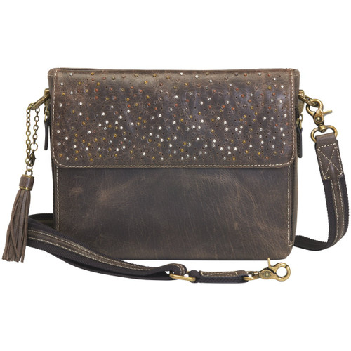 GTM Distressed Buffalo Leather Shoulder Concealed Carry Purse