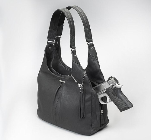 GTM Black Pleated Slouch Carry Purse