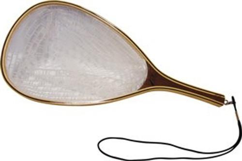 "Premium Wooden Trout Landing Net - Crystal Clear Rubber (11"" x 15"" Hoop, 8"" Handle)"