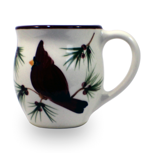 Latte Mug in Our Cardinal Pattern [Front View]