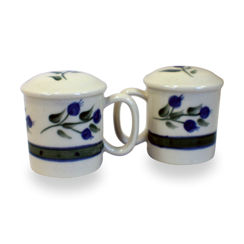 Salt & Pepper Shakers in Our Wild Blueberry Pattern [Front View]