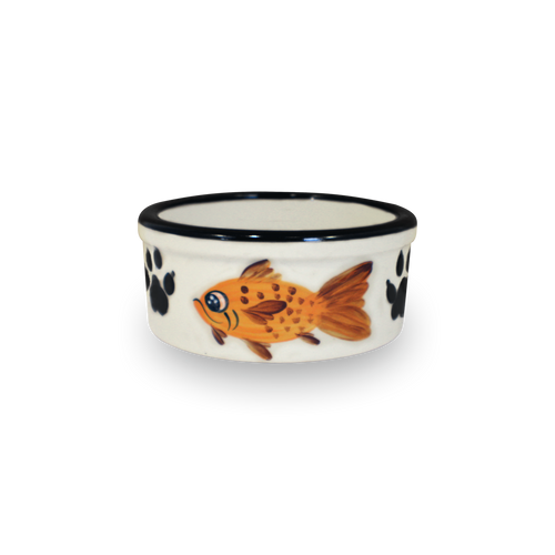 """5"""" Hand-Painted Kitty Bowl [Front View]"""