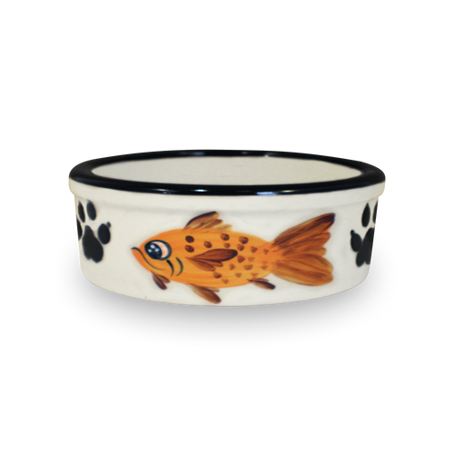 "7"" Hand-Painted Kitty Bowl [Front View]"