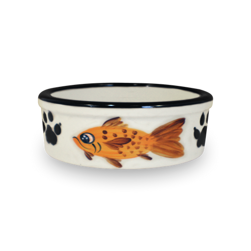"""7"""" Hand-Painted Kitty Bowl [Front View]"""