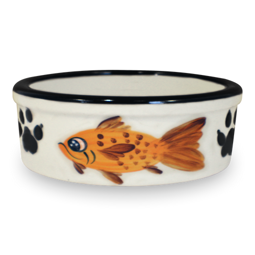 """9"""" Hand-Painted Kitty Bowl [Front View]"""