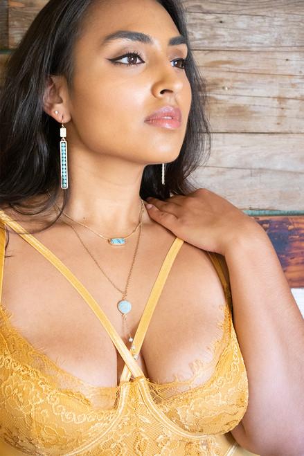 Dena Stone Drop Earrings - Rose Quartz