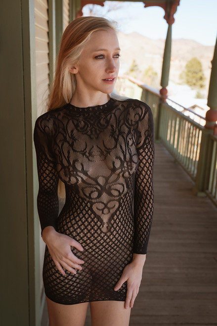 Under My Spell Long Sleeve Mesh Dress