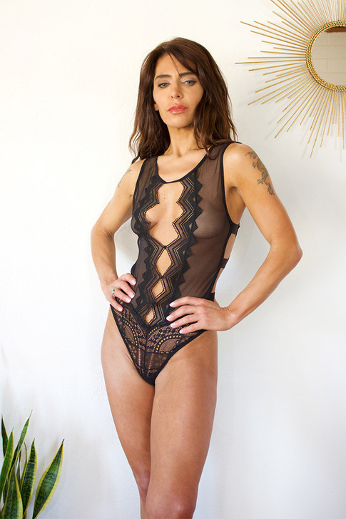 Tribal Mesh Banded Bodysuit