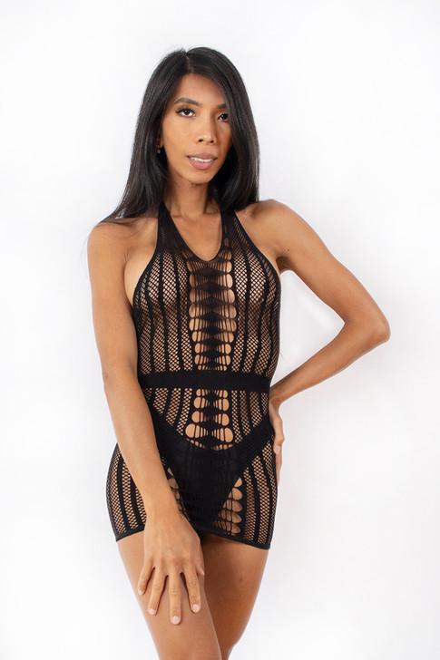Bold and Beautiful Mesh Halter Dress